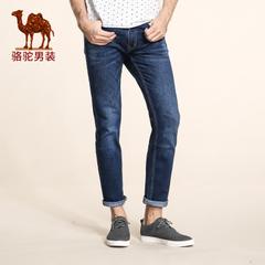 Camel/骆驼男装 冬款青年中腰微弹直筒商务休闲蓝色牛仔裤