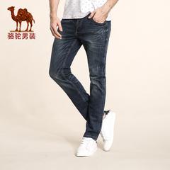 Camel/骆驼男装 冬款新款青年中腰微弹直筒洗水绵牛仔裤男