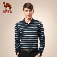 骆驼 秋季新款商务门筒领条纹水洗翻领宽松长袖T恤 男