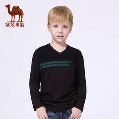 骆驼男装  秋季百搭小孩打底衫纯色拼料休闲V领长袖T恤男童