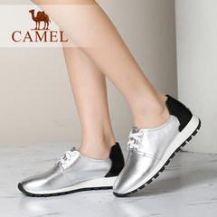 Camel骆驼运动女鞋 韩版简约休闲鞋 真皮圆头系带春季跑步单鞋女