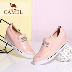 Camel骆驼女鞋休闲四季鞋 真皮圆头内增高单鞋2017春季女鞋高跟鞋