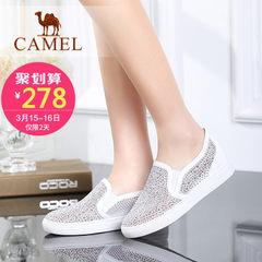 骆驼女鞋 春新款时尚休闲鞋 牛皮圆头内增高单鞋 乐福鞋女