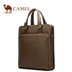骆驼2016新款男士真皮复古手提包竖款商务男包头层牛皮斜跨男士包