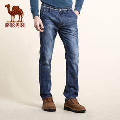 Camel/骆驼男装 2016秋季新款微弹中腰直筒长裤时尚休闲牛仔裤