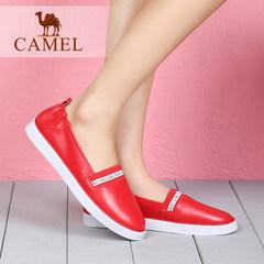 Camel骆驼女鞋春季新款平底鞋 牛皮圆头松紧带低跟舒适女单鞋