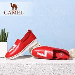 Camel骆驼女鞋 真皮圆头休闲舒适单鞋 春季新款低跟鞋乐福鞋
