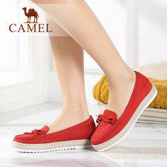 Camel/骆驼女鞋 春新款 头层磨砂牛皮圆头蝴蝶结中跟休闲女单鞋