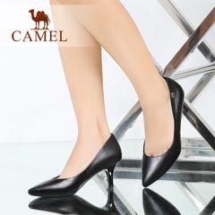 Camel/骆驼女鞋优雅通勤水染羊皮尖头酒杯跟高跟夏新品女单鞋