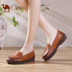 骆驼女鞋 新款手工缝制舒适单鞋女士浅口平跟女鞋子