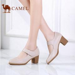 骆驼女鞋 春季真皮舒适单鞋女高跟粗跟浅口魔术贴女鞋子