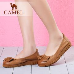 【新品】camel骆驼女鞋平底鞋单鞋2016秋季新款休闲蝴蝶结女鞋