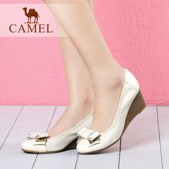 【新品】camel骆驼女鞋 时尚休闲女鞋2016夏季新款牛皮坡跟单鞋
