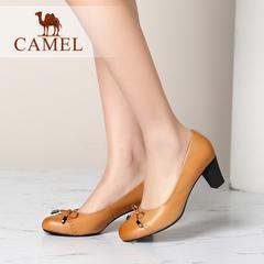 Camel/骆驼女鞋 优雅休闲打蜡羊皮蝴蝶结圆头高跟单鞋 2016新款