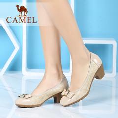 Camel/骆驼女鞋 休闲通勤 2016秋季新款圆头舒适中跟鞋休闲单鞋女