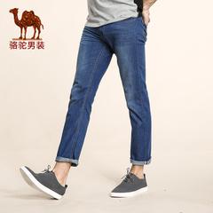 Camel/骆驼男装2016秋季款微弹中腰直筒直脚牛仔裤 商务休闲长裤