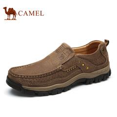 Camel/骆驼男鞋 牛皮休闲皮鞋透气日常休闲鞋套脚舒适鞋轻便男鞋