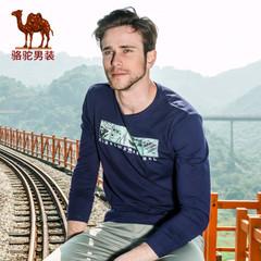 Camel/骆驼男装 春季新款微弹圆领印花棉质休闲长袖T恤衫男士