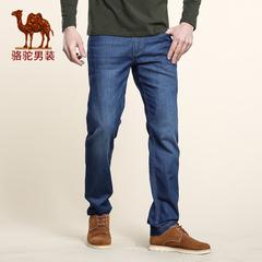 Camel/骆驼2016秋季新款微弹中腰修身脚拉链长裤 男士休闲牛仔裤