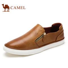 camel骆驼男鞋春季舒适拉链套脚牛皮男士休闲鞋子乐福鞋