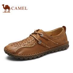 Camel/骆驼男鞋  春季 镂空皮鞋 系带休闲皮鞋男