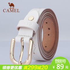 Camel骆驼新款真皮女士皮带时尚休闲合金针扣女腰带女款裤带