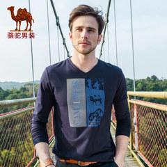 骆驼 春季新款微弹日常休闲印花V领长袖棉质T恤男士