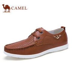 Camel骆驼男鞋 时尚休闲春季牛皮透气系带男鞋