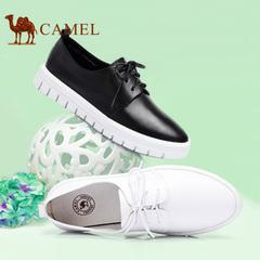 Camel/骆驼女鞋 休闲舒适夏季牛皮低跟系带单鞋2016年新款小白鞋
