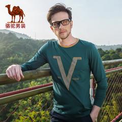 Camel/骆驼男装春季新款微弹圆领字母图案休闲长袖T恤衫 男士
