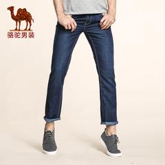 Camel/骆驼男装 2016秋季新款中腰直筒猫须薄款长裤 拉链牛仔裤