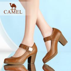 【新品】Camel/骆驼女鞋 2016夏季新款粗跟单鞋优雅高跟圆头女鞋