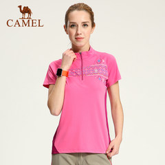 CAMEL骆驼户外速干衣 春夏女款短袖立领休闲T恤透气户外T恤
