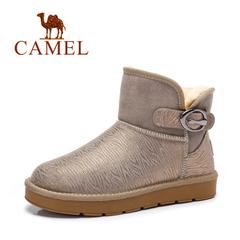 【情侣款】Camel/骆驼雪地靴 冬季牛皮短筒雪地靴加绒休闲男女靴
