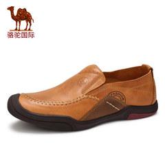骆驼男鞋春季新款男士真皮休闲软底舒适手工缝线套脚男皮鞋