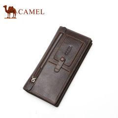 【清仓】Camel/骆驼男士真皮钱包复古休闲长款男钱夹拉链手拿包男