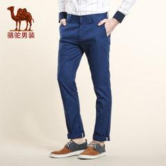 骆驼男装 春季微弹中腰纯色修身休闲小脚长裤 商务休闲裤
