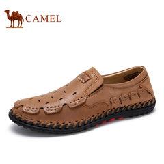 Camel/骆驼男鞋低帮鞋夏季日常休闲牛皮镂空透气舒适休闲鞋
