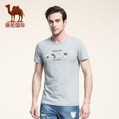 骆驼 夏季新款时尚棉质印花休闲圆领青年青春活力短袖T恤男