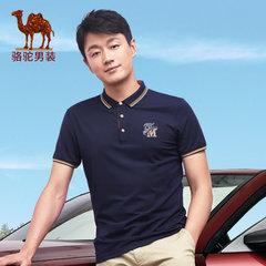 骆驼 夏款新款短袖青年纯色休闲字母绣标上衣T恤男