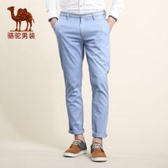 骆驼男装 春季微弹中腰直筒休闲长裤 纯色小直角休闲裤男