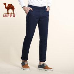 骆驼男装 春季无弹中腰纯色休闲裤 商务休闲棉质长裤