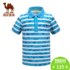 小骆驼童装春夏条纹短袖T恤青少年男童女童休闲翻领上衣