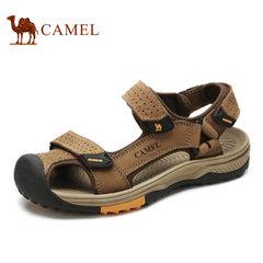【断码清仓】Camel/骆驼凉鞋男户外休闲男真皮沙滩鞋魔术贴凉鞋