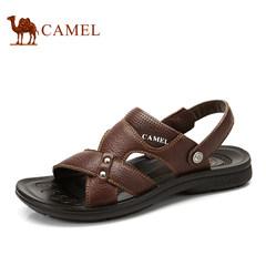 Camel/骆驼凉鞋男夏季牛皮沙滩鞋防滑透气两用凉拖鞋男士休闲凉鞋