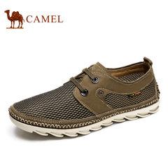 Camel/骆驼男鞋日常休闲低帮鞋磨砂皮镂空鞋面休闲百搭系带男鞋