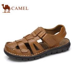 Camel/骆驼男凉鞋 真皮夏季沙滩鞋魔术贴包头凉鞋中老年休闲凉鞋