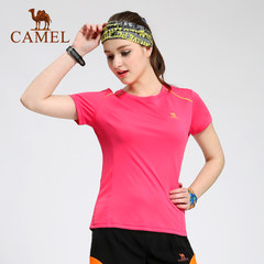 CAMEL骆驼户外简约透气速干衣 春夏女款撞色短袖圆领T恤