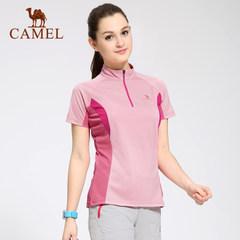 CAMEL骆驼户外女款立领速干衣 春夏时尚速干短袖T恤