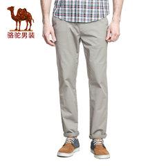Camel骆驼 新款微弹纯色中腰棉质直筒裤商务休闲长裤男